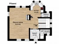 Půdorys přízemí (Prodej domu v osobním vlastnictví 115 m², Zdiby)