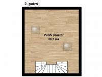 Půdorys podkroví (Prodej domu v osobním vlastnictví 160 m², Postřižín)