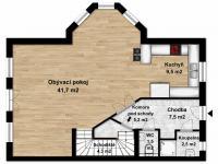 Půdorys přízemí (Prodej domu v osobním vlastnictví 160 m², Postřižín)