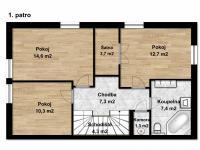 Půdorys patra (Prodej domu v osobním vlastnictví 160 m², Postřižín)