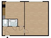Dispozice bytu - Pronájem bytu 1+1 v družstevním vlastnictví 35 m², Odolena Voda