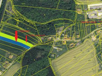 katastrální + ortofoto mapa - Prodej pozemku 3375 m², Heřmaň