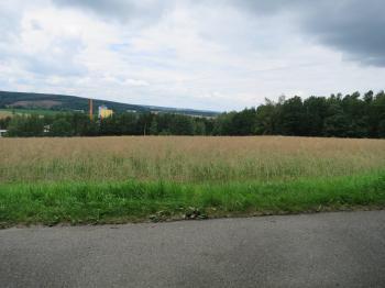 pohled z komunikace - Prodej pozemku 3375 m², Heřmaň