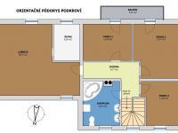 Orientační půdorys podkroví (Prodej domu v osobním vlastnictví 220 m², Roudné)