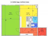 půdorys bytu (Prodej bytu 1+1 v osobním vlastnictví 44 m², Jindřichův Hradec)