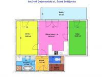 půdorys bytu (Prodej bytu 3+kk v osobním vlastnictví 59 m², České Budějovice)