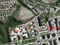 Letecký pohled (Prodej bytu 3+1 v osobním vlastnictví 73 m², České Budějovice)