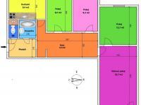 půdorys bytu (Pronájem bytu 4+1 v osobním vlastnictví 83 m², České Budějovice)