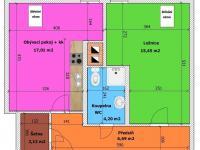 půdorys bytu (Prodej bytu 2+kk v osobním vlastnictví 49 m², České Budějovice)