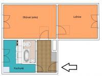 půdorys 2D (Prodej bytu 2+1 v osobním vlastnictví 55 m², České Budějovice)