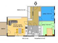 půdorys (Prodej bytu 3+kk v osobním vlastnictví 82 m², Písek)