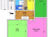 půdorys bytu (Prodej bytu 3+1 v osobním vlastnictví 66 m², České Budějovice)