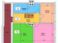 Půdorys 1.patra (Prodej domu v osobním vlastnictví 157 m², Horní Stropnice)