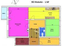 půdorys 1. NP a mezipatro - Prodej domu v osobním vlastnictví 240 m², Hluboká nad Vltavou