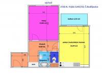 půdorys bytu - Prodej bytu 2+kk v družstevním vlastnictví 42 m², České Budějovice