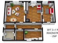Byt 3+1 v 2NP před rekonstrukcí - Prodej nájemního domu 706 m², Lanškroun