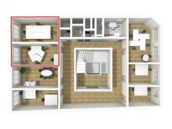 3D vizualizace - Pronájem kancelářských prostor 35 m², Broumov
