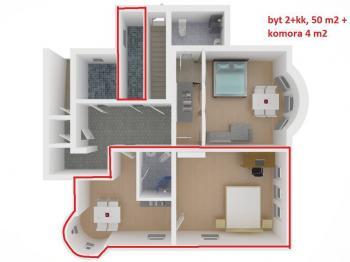 současný stav - Prodej bytu 2+kk v osobním vlastnictví 50 m², Vítkovice
