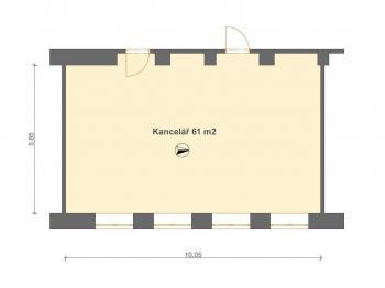 Kancelář 61 m2 v 1. NP - Pronájem kancelářských prostor 25 m², Pardubice