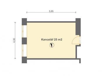 Kancelář 25 m2 v 1. NP - Pronájem kancelářských prostor 25 m², Pardubice