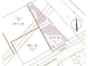 část určená k prodeji - Prodej pozemku 2279 m², Rudoltice