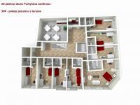 3D půdorys 3NP pension (Prodej penzionu 470 m², Lanškroun)