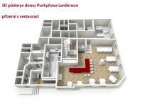 3D půdorys přízemí restaurace pro pension (Prodej penzionu 470 m², Lanškroun)
