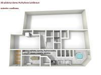 3D půdorys suterénu pro pension (Prodej penzionu 470 m², Lanškroun)