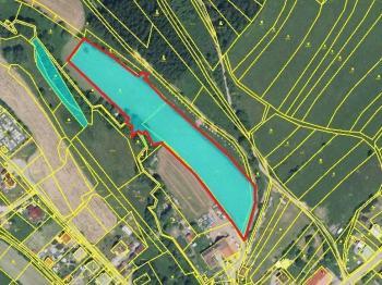 Prodej - červeně označená část - Prodej pozemku 9907 m², Lhota u Vsetína