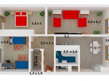 půdorys s rozměry - Prodej bytu 3+1 v osobním vlastnictví 78 m², Olomouc
