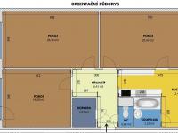 Orientační půdorys (Prodej bytu 3+1 v družstevním vlastnictví 85 m², České Budějovice)