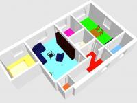 3 D plánek 2+1 - Prodej domu v osobním vlastnictví 228 m², Komařice
