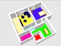 3D plánek 2+1 - Prodej domu v osobním vlastnictví 228 m², Komařice