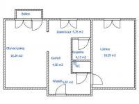 orientační nákres půdorysu - Prodej bytu 2+1 v osobním vlastnictví 56 m², Kaplice