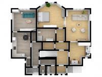 3D budoucí stav přízemí s byty - Prodej domu v osobním vlastnictví 457 m², Svitavy