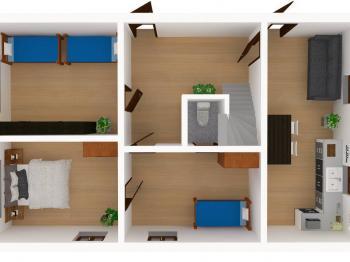 Vizualizace domu - přízemí - Prodej domu v osobním vlastnictví 150 m², Lupenice
