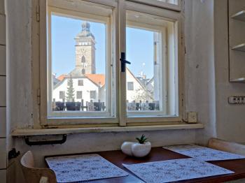 VÝHLED Z KUCHYNĚ - Prodej bytu 2+1 v osobním vlastnictví 45 m², České Budějovice
