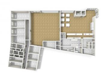 3D půdorys prodejny, kanceláří, skladů - Prodej komerčního objektu 4300 m², Ústí nad Orlicí