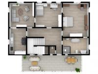3D budoucí stav 1. patro s byty - Prodej domu v osobním vlastnictví 457 m², Svitavy