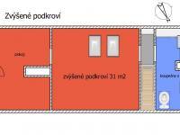 půdorys zvýšeného podkroví - Prodej chaty / chalupy 238 m², Vlachovo Březí