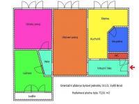 orientační půdorys - Prodej bytu 3+1 v osobním vlastnictví 73 m², Vyšší Brod
