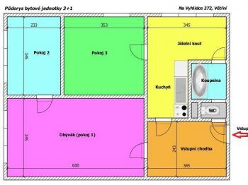 Půdorys bytu - Prodej bytu 3+1 v osobním vlastnictví 65 m², Větřní