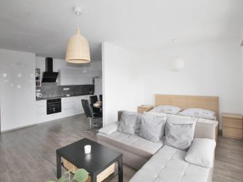 obývací pokoj s kuchyňským koutem - Prodej bytu 2+kk v osobním vlastnictví 101 m², České Budějovice