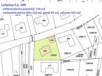 katastrální mapa - Prodej domu v osobním vlastnictví 172 m², Ločenice