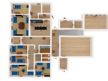 Vizualizace 1.NP - Prodej penzionu 191 m², Podbřezí