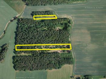 ortofoto mapa se zákresem parc. 229/2, 233, 150/16 - Prodej pozemku 9831 m², Drahonice