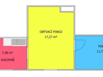 plánek - Pronájem bytu 2+1 v osobním vlastnictví 44 m², Srubec