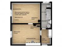 Prodej bytu 1+1 Lanškroun 3D model současný stav - Prodej bytu 1+1 v osobním vlastnictví 35 m², Lanškroun