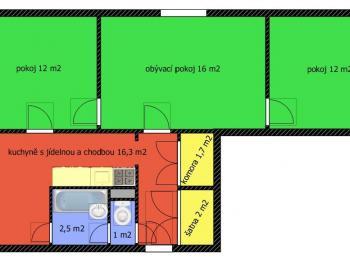 půdorys bytu - Prodej bytu 3+1 v osobním vlastnictví 66 m², České Budějovice