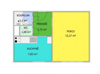 plánek - Prodej bytu 1+1 v družstevním vlastnictví 33 m², České Budějovice